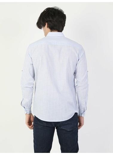 Colin's Regular Fit Uzun Kol V Yaka Erkek Gömlek Uzun Kol Mavi